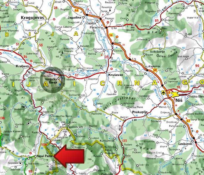Mapa Novopazarska Banja